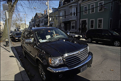 A Chrysler Aspen, with the registration ''USA 9,'' was parked last Saturday across from 55 G St. in South Boston. US Representative Stephen F. Lynch owns the vehicle, but his campaign committee makes the $766 monthly payment.