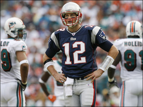Tom Brady stood and looked towards the sidelines after an incomplete pass.