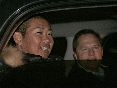 Matsuzaka and Boras were all smiles as they departed Hanscom.