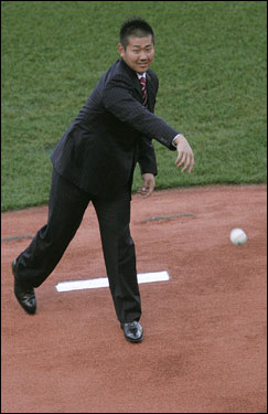 Matsuzaka releases the pitch.
