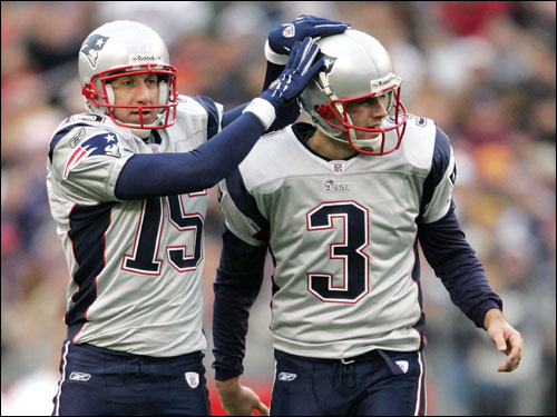 Patriots rookie kicker Stephen Gostkowski was congratulated by placeholder Ken Walter (left) after hitting his second field goal of the game.