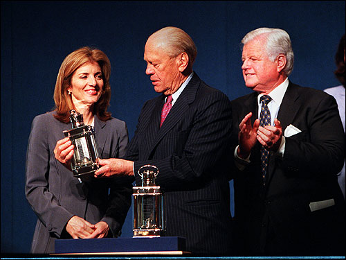 Caroline Kennedy and Edward Kennedy looked on as Ford held his John F. Kennedy Profile in Courage award, a Silver Lantern, at the JFK Library in May 2001.