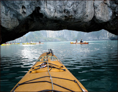 A kayak tour of the limestone karsts in Halong Bay, three hours outside Hanoi.