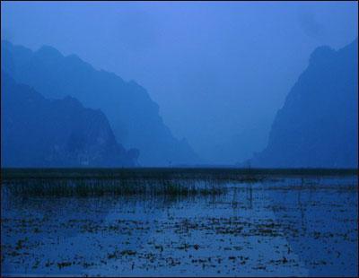 Dusk falls near Hanoi.