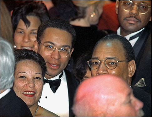 Diane and Deval Patrick (center left) waited on the crowded dance floor at the Post Office Inaugural Ball for the arrival of President Bill Clinton and first lady Hillary Clinton on Jan. 20, 1997, the night of Clinton's second inauguration. After he is sworn in as governor of Massachusetts on Jan. 4, 2007, Patrick will be attending his own inaugural ball.