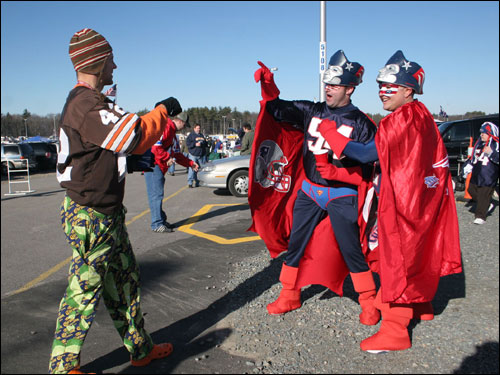 Wayne 'Fan Man' Bouthillette and Brian 'Captain Patriot' Molis had some fun in the parking lot.