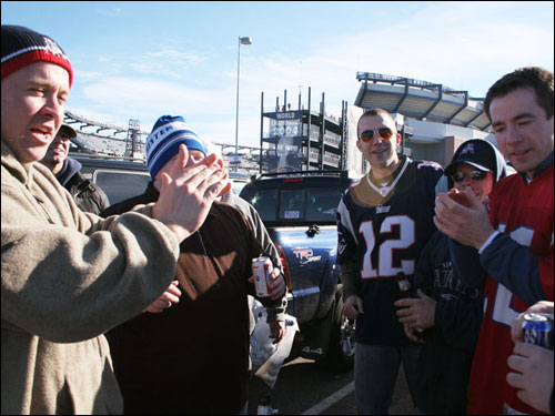 The crew from Eire Pub in Dorchester sang songs before the game outside Gillette Stadium.