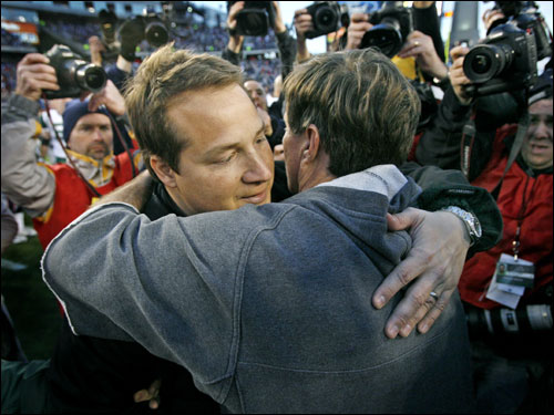 Patriots head coach Bill Belichick hugged New York Jets head coach Eric Mangini after the game.