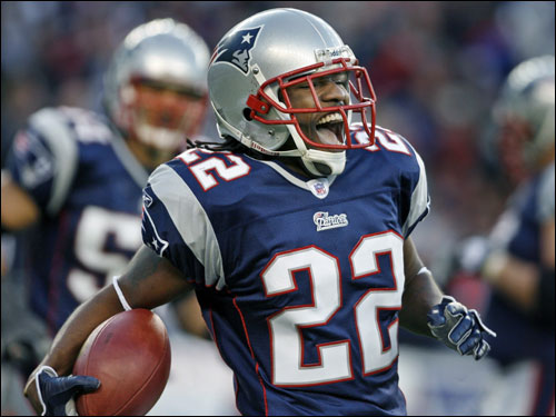 Patriots cornerback Asante Samuel returned a fourth-quarter interception of Chad Pennington for a touchdown.