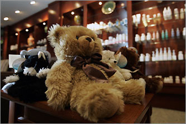 The spa at Westin Casuarina greets guests at the entrance with stuffed animals.