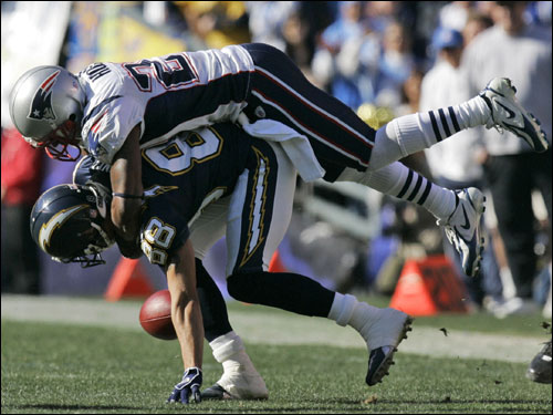 Patriots cornerback Ellis Hobbs broke up a pass to Chargers receiver Eric Parker on the first drive.