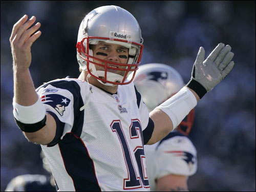 Tom Brady gestured to the sidelines in the first quarter.