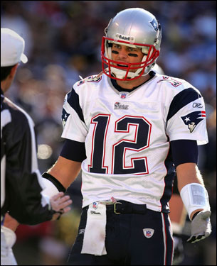 Tom Brady had an issue with the referee during a first-half drive.
