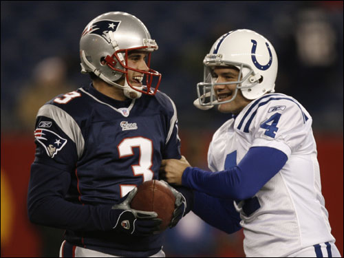 Vinatieri joked with Patriots rookie kicker Stephen Gostkowski (3).