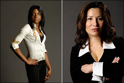 "At left, Tamar Williams, 24, a bank teller, reduced the width of her nose and got a perkier tip. On her results, Williams said ""I was always confident. But now I can show off my nose."" At right, Mei-Ling Hester, 43, a hairdresser, had excess fat removed from her eyelids, plus gets regular Botox injections into her forehead. On her naturally sharp nose, Hester said ""I just got lucky, because if you look at my sister, she's got a fl at nose."""