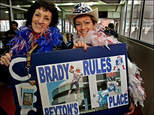 Sisters Diane Shindler (left) and Gail Shindler Feldman were decked out for the AFC Championship game. Both originally hail from Brookline.