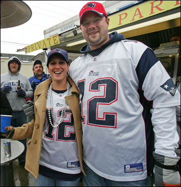 April and Darrell Bush, who are Patriots fans, drove eight hours from Richmond, Va. for the game.