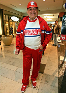 Longtime Patriots fan Aram Garabedian, of Cranston, RI, is old school when it comes to what team garb to wear. Garabedian says wearing the outfit gets you noticed, which shows your support for the team. As a note, he bought the red shoes in New Orleans when the Patriots won a Super Bowl there.