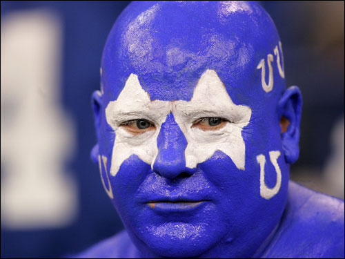 A Colts fan watched the pregame warmups.