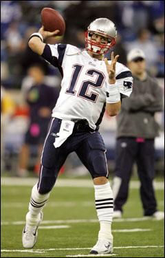 Tom Brady threw warm up passes prior to kickoff.