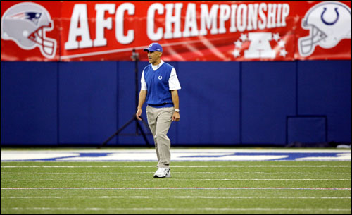 Colts Head coach Tony Dungy walked across the field before taking on the New England Patriots in the AFC Championship Game.