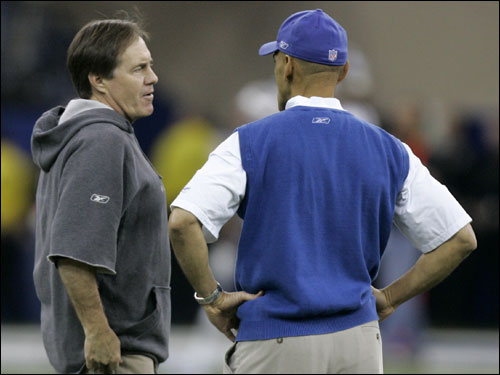 Bill Belichick and Tony Dungy talked before the start of the AFC Championship Game.