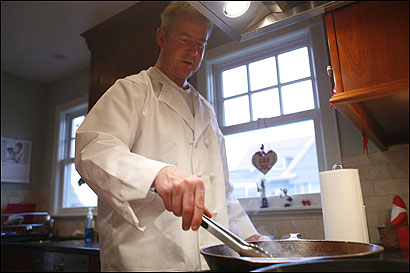 Anders Nilsson (above) prepares biff Rydberg at his Winthrop home. The dish, named for a former hotel in Stockholm, is a hash made from onions, potatoes, and tenderloin.