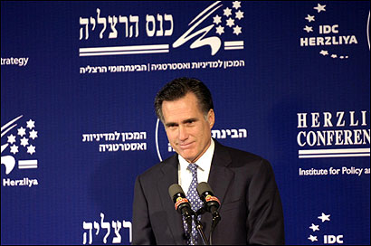 Former Massachusetts governor Mitt Romney during an appearance at the Herzliya Conference yesterday in Israel.