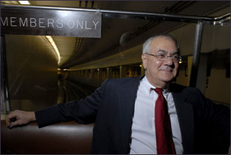 Congressman Barney Frank, a Newton Democrat, takes the shuttle from the Capitol to the Rayburn House Office Building after the last vote of the day.
