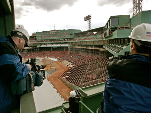 Camera operators recorded the ongoing construction at Fenway Park Wednesday.