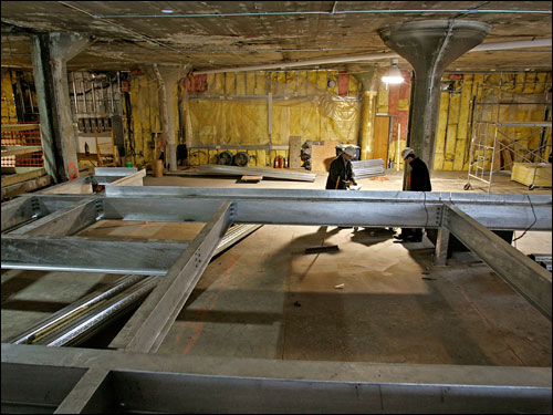 Construction work on the third base deck at Fenway Park is part of the current improvements expected to be completed by Opening Day. The Red Sox announced plans to renovate the private suites, add new restrooms and include a new standing room area with a drink bar as some of the major new improvements to the ballpark.