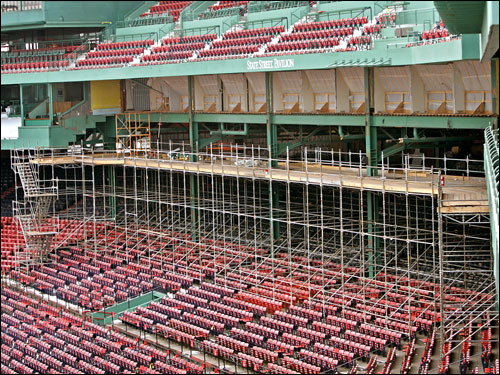 Scaffolding along the new third base deck area which is under construction, but is expected to be open on Opening day.