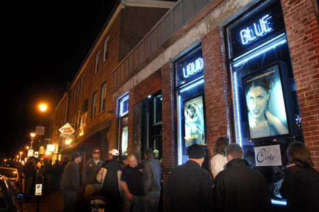 Liquid Blue on Fore Street is one of many clubs and pubs in close proximity to one another in the Old Port District in Portland, Maine.