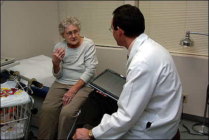 Ethel Roy, 81, visited earlier this month with Dr. Stephen St. Clair, her urologist, at his office in North Adams.