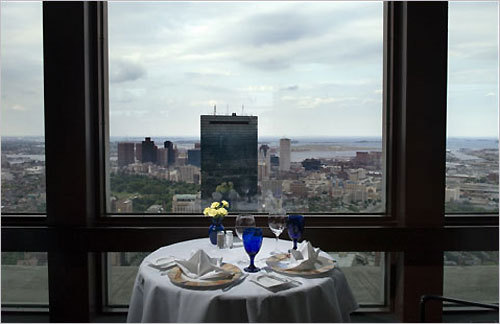 Top of the Hub The sweeping views of the city's skyline make Top of the Hub one of the most romantic restaurants in Boston. Try to grab a corner table for some of the most beautiful sights. DISCUSS Your proposal story?