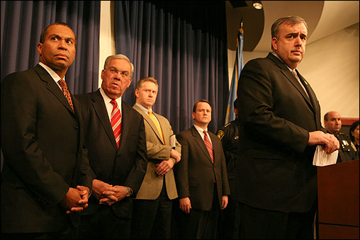 Turner Broadcasting acknowledged late Wednesday that the suspicious packages that ignited fears of bombs across Boston today were magnetic lights that were part of an outdoor marketing campaign for an adult cartoon. At left, Boston Police Commissioner Edward Davis (at podium) spoke at a press conference with Governor Deval Patrick (left) and Mayor Thomas M. Menino.