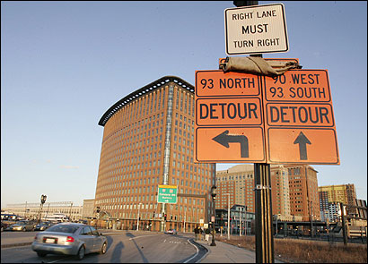 Detour signs for Interstate 90 west near the Seaport Hotel in Boston should come down. The I-90 connector tunnel reopened last weekend, providing access to Logan International Airport.