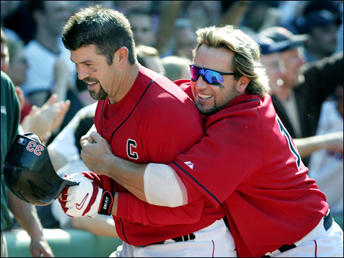 Jason Varitek, part 3 Varitek is as popular with his teammates as he is with the fans. In this May 2005 photo, Kevin Millar celebrated a Varitek walkoff home run against the Twins. 'If a player is not a 'dirt dog,' ' said Varitek , 'it will be difficult to fit in into this city.' Varitek's stats and facts