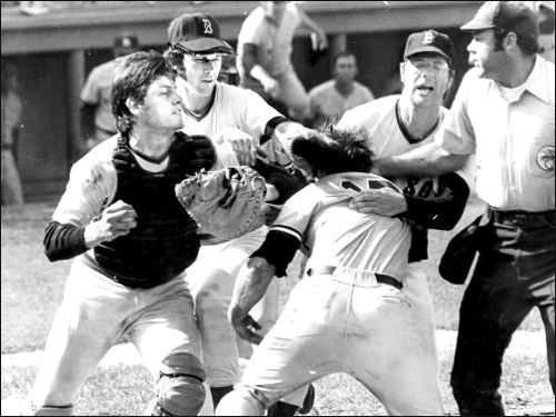Carlton Fisk In the days leading up to Opening Day, Boston Dirt Dogs takes a look back the most beloved Red Sox players at each position (1967-2010), and we ask you to pick your favorite. Drafted by the Sox in '67, Fisk, who hails from Charlestown, NH, was a Fenway favorite through 1980, when a contract snafu resulted in his signing with the Chicago White Sox. In this Aug. 1, 1973 photo, Fisk and Yankees nemesis Thurman Munson collided, then fought, at home plate.