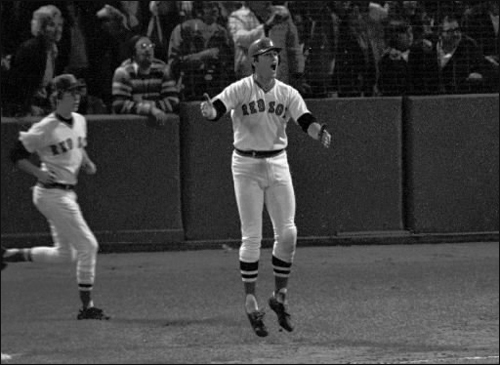Carlton Fisk, part 2 The defining moment of Fisk's career in Boston came in Game 6 of the 1975 World Series against the Cincinnati Reds. He hit a 12th-inning home run off the left field foul pole at Fenway Park to win the game. There would be no such heroics for Boston in Game 7.