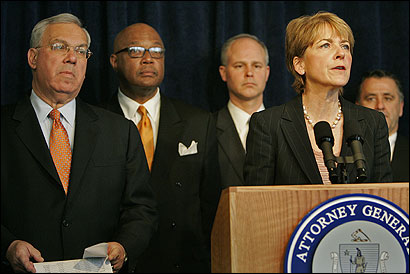 Attorney General Martha Coakley said the settlement was the most authorities could have hoped to get from Turner Broadcasting. Joining her at a press conference yesterday were mayors Thomas Menino (left) and Kenneth Reeves, T general manager Daniel Grabauskas, and State Police Major Scott Pare.
