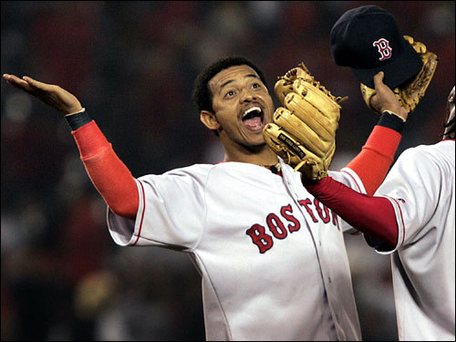 Orlando Cabrera OC was the spark that ignited a World Series run in Boston in '04 when he came to town in a July trade that sent longtime Sox shortstop Nomar Garciaparra packing. Handshakes, high energy, solid defense, and clutch hitting (he batted .379 with 11 hits vs. the Yankees in the ALCS) are what Sox fans remember most about the half-year wonder in Boston. Here in this Oct. 6, 2004 photo, Cabrera exhulted after the final out in Anaheim. ( Cabrera's stats and facts )
