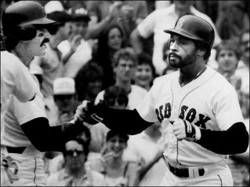 Mike Easler 'The Hit Man' served as the Red Sox DH for the 1984 and '85 seasons before being traded to the Yankees for Don Baylor in '86. Easler once said that with the way he fields, he was born to be a DH. Easler's best season in Boston was in '84, when he hit 27 homers and knocked in 91 runs while batting .313. Easler also served as the Red Sox hitting coach for two seasons. ( Easler's stats and facts )
