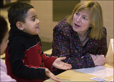 Malden's school superintendent, Joan Connolly, at Family Math Night at the Beebe School. The veteran educator's total compensation package was nearly $170,000 this year.