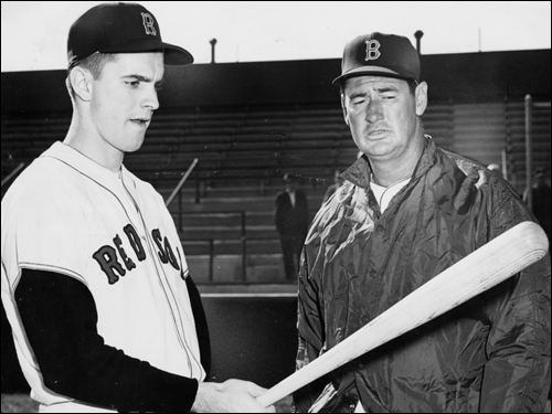 Tony Conigliaro Tony C. (left), a 1962 graduate of Saint Mary's in Lynn, burst onto the Red Sox scene in 1964 and became and instant fan-favorite. In 1967, he became the youngest American League player to reach 100 home runs at age 22 years, 6 months, and 16 days. But during August of the 'Impossible Dream' season, Conigliaro was hit in the eye by a pitch thrown by the Angels' Jack Hamilton and suffered severe damage. In 1969, Conigliaro was named Comeback Player of the Year, but damage to his sight forced him to retire in 1975. Conigliaro suffered a heart attack in January 1982 and never fully recovered. Tony C. died on Feb. 24, 1990, a little over a month past his 45th birthday. ( Conigliaro's stats and facts )