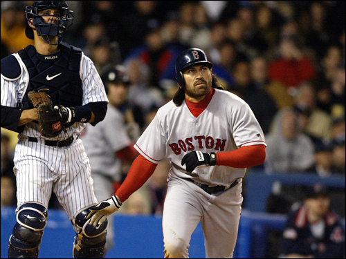 Johnny Damon He played hard, he played hurt, and he answered every question at the end of every game. Damon became a legend in Red Sox Nation. One of the game's best leadoff hitters, Damon scored 100 runs every season between 1998-2006. In this Oct. 20, 2004 photo, Damon hit a second-inning grand slam during Game 7 of the ALCS in Yankee Stadium, helping launch the Sox into the World Series. Damon left the Bronx to join the Yankees after the 2005 season and will return to Fenway this year as a member of the Tampa Bay Rays. ( Damon's stats and facts )