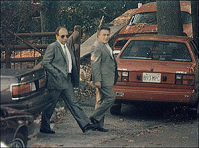 Angelo ''Sonny'' Mercurio, right, in a surveillance photo with Raymond ''Junior'' Patriarca, head of the New England Mafia.