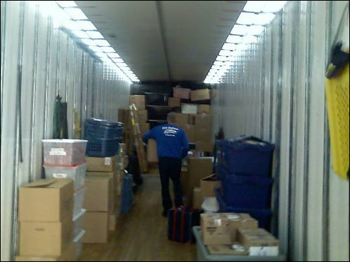 A shot of the inside of the Red Sox equipment truck as it was being filled this morning.