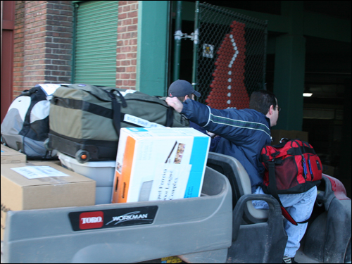 In addition to players' gear, Red Sox office items were also packed for the trip to Fort Myers.
