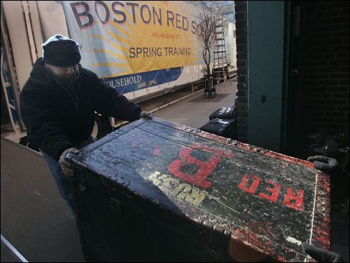 Red Sox equipment for spring training gets loaded up onto the van.